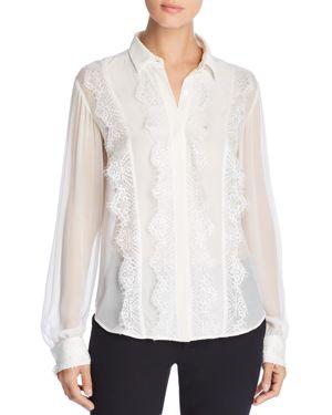 Donna Karan New York Lace-Trimmed Silk Top