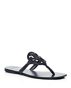 Tory Burch - Women's Miller Square Toe Leather Thong Sandals