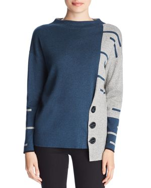 NIC AND ZOE Nic+Zoe Asymmetric Toggle Sweater in Neptune