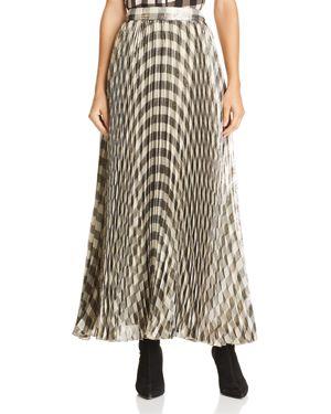 Alice + Olivia Katz Metallic Gingham Pleated Maxi Skirt, Check Plaid Soft White