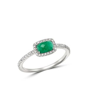 Meira T 14K White Gold Emerald & Diamond Ring