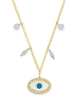 "Meira T - 14K Yellow Gold & 14K White Gold Evil Eye Diamond & Enamel Pendant Necklace, 18"""