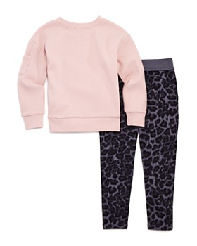 Splendid - Girls' Waffle-Knit Shirt & Leopard-Print Pants Set - Little Kid, Big Kid