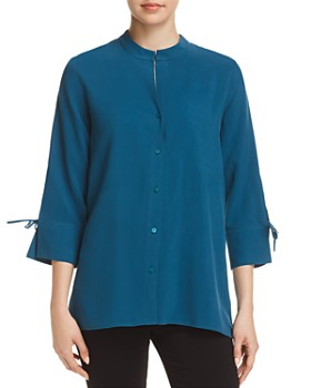Eileen Fisher Petites - Silk Tie-Sleeve Top