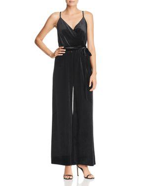 REBECCA MINKOFF Luna Wide-Leg Velvet Jumpsuit in Black