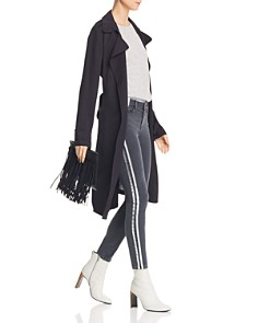 PAIGE - Verdugo Ankle Skinny Jeans in Faded Black with Silver Tux Stripe - 100% Exclusive