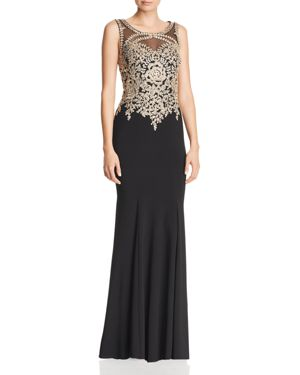 AVERY G Embroidered Bodice Gown in Black/Gold
