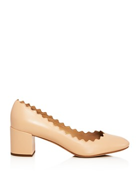 Chloé - Women's Lauren Scalloped Leather Block-Heel Pumps