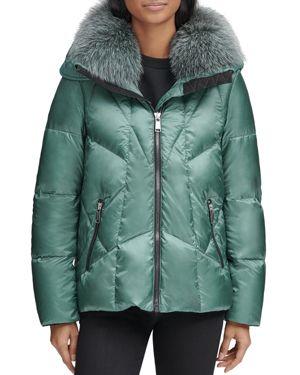 ANDREW MARC Naya Down-Fill Parka Coat W/ Fur Hood in Blue