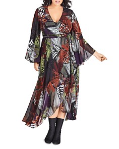 City Chic Plus - Palm-Print Maxi Wrap Dress