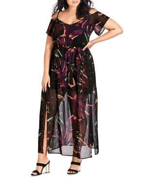 City Chic Plus Printed Cold-Shoulder Maxi Dress