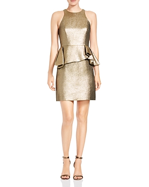 Halston Heritage Metallic Jacquard Peplum Mini Dress