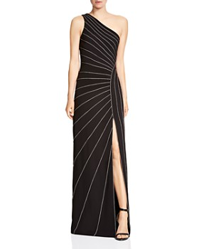 HALSTON HERITAGE - Chain-Embellished One-Shoulder Crepe Gown