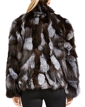 HALSTON HERITAGE - Patched Fox Fur Jacket