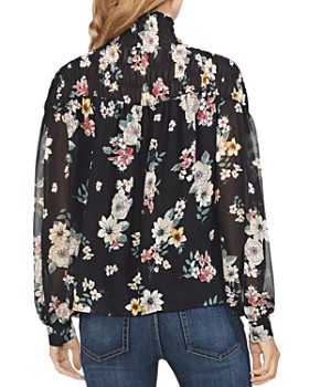 VINCE CAMUTO - Smocked Floral-Print Top