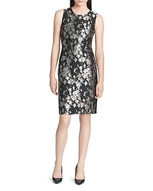 Calvin Klein Metallic Embroidered Floral Sheath Dress