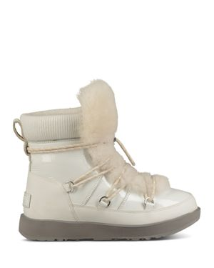 UGG Women'S Highland Round Toe Leather & Sheepskin Waterproof Boots in White