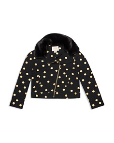 kate spade new york - Girls' Metallic Dot Moto Jacket - Big Kid