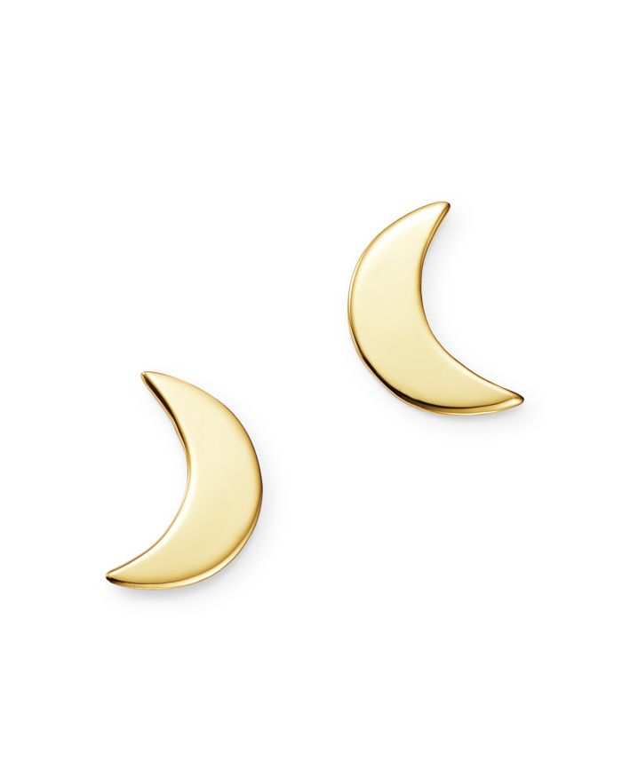 Moon & Meadow Small Moon Stud Earrings in 14K Yellow Gold - 100% Exclusive  | Bloomingdale's