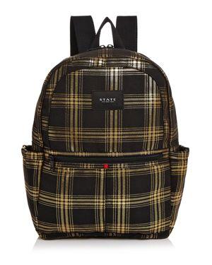 STATE Kane Metallic Plaid Backpack in Black/Gold