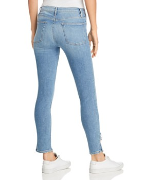 FRAME - Le High Skinny Side Frayed-Hem Jeans in Prizzi