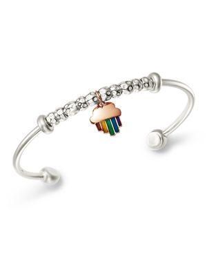 DODO Sterling Silver Rainbow Charm Cuff in Multi/Silver