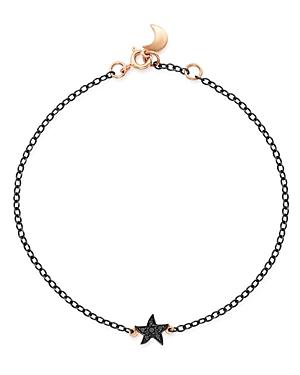 Dodo Sterling Silver Starfish Charm Black Diamond Bracelet