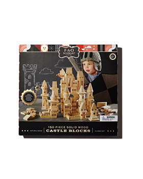 FAO Schwarz - Wooden Castle Blocks, 150-Piece Set - Ages 4+