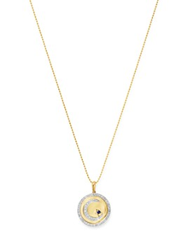 """Bloomingdale's - 14K Yellow Gold Blue Sapphire & Diamond Star & Moon Medallion Necklace, 18"""""""