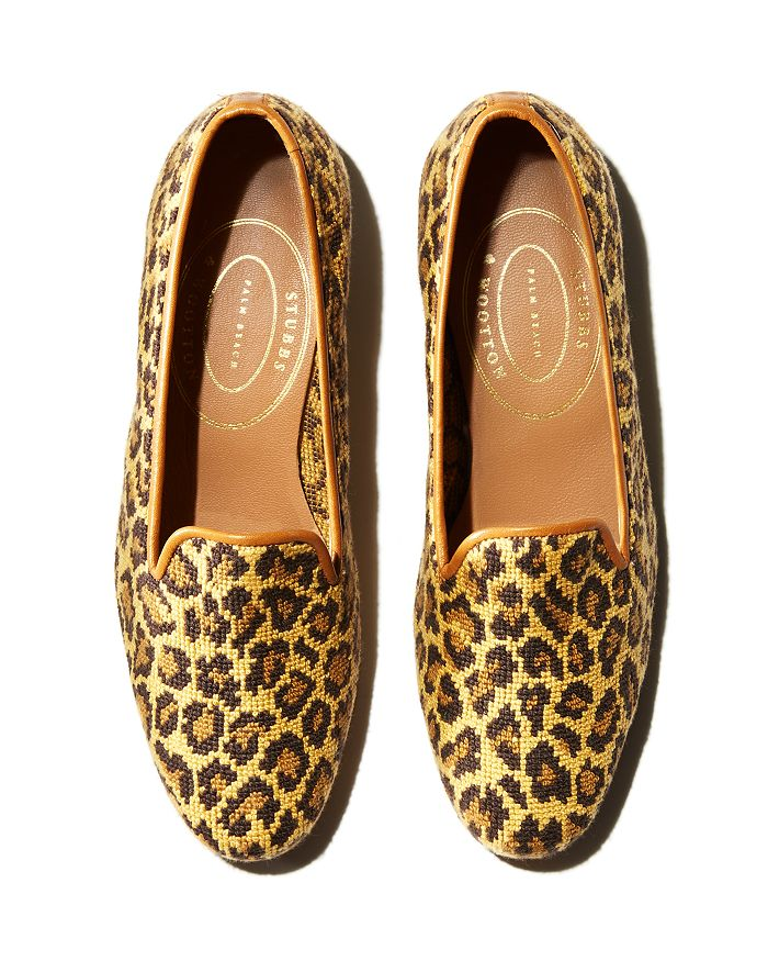 2fda1245d9ed Stubbs   Wootton Women s Jane Leopard Knit Slipper Loafers ...