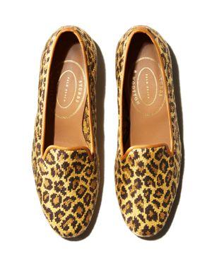 STUBBS & WOOTTON Women'S Jane Leopard Knit Slipper Loafers in Yellow Leopard