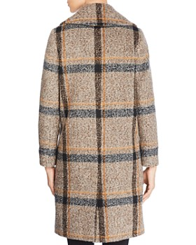 Kendall + Kylie - Double-Breasted Button Front Plaid Coat