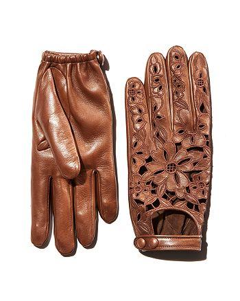 Portolano - Embroidered Leather Driver Gloves