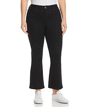 SLINK Jeans Plus - High-Rise Flared Ankle Jeans in Solid Black