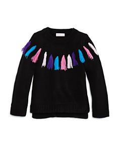 Design History - Girls' Rainbow Tassel Sweater - Little Kid