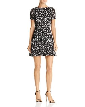 Aqua Laser-Cut Floral Flounce Dress - 100% Exclusive