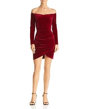 AQUA - Ruched Off-the-Shoulder Velvet Dress - 100% Exclusive
