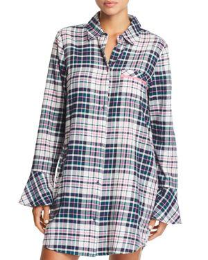 JANE & BLEECKER NEW YORK Printed Flannel Sleepshirt in Multi Plaid