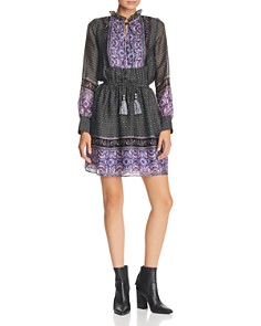 AQUA - Long-Sleeve Border-Print Dress - 100% Exclusive