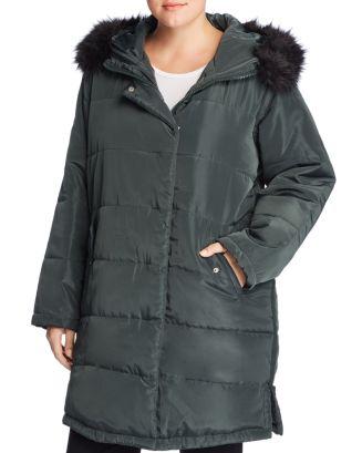 57a762cedc1f9 Lost Ink Plus Faux Fur Trim Puffer Coat