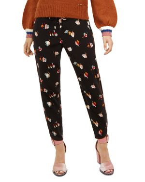 Colour By Numbers Flisie Floral Jogger Pants in Black