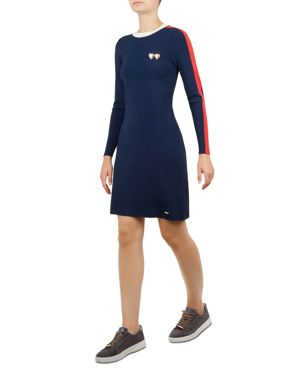 Colour By Numbers Stripe Knit Dress, Navy