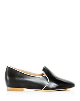 Joan Oloff - Women's Luna Leather Hidden Demi-Wedge Smoking Slippers