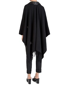 The Kooples - Studded Leather-Paneled Poncho