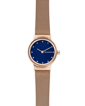 Women'S Freja Rose Gold-Tone Mesh Bracelet Watch 26Mm, Blue/Rose Gold