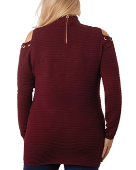Belldini Plus - Embellished Cold Shoulder Sweater