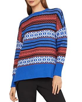 BCBGMAXAZRIA - Striped High/Low Sweater