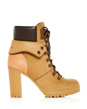 See by Chloé - Women's Cargo Hiker Round Toe Lace Up Leather Booties