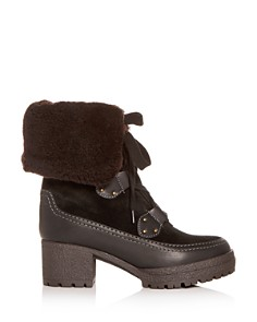See by Chloé - Women's Shearling Block-Heel Boots