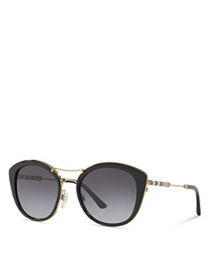 Burberry - Women's Polarized Check Round Sunglasses, 53mm